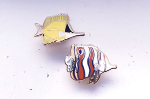 Copperband and Yellow Longnose Butterflyfish Pin Set