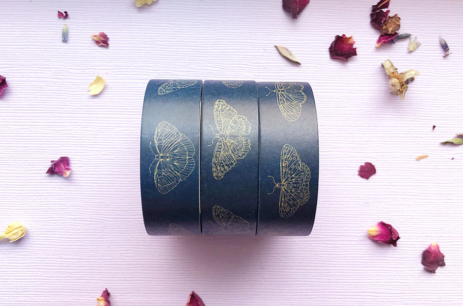 Blue and Gold Butterflies Washi Tape