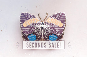 Aegina Numberwing Butterfly Enamel Pin (Seconds)