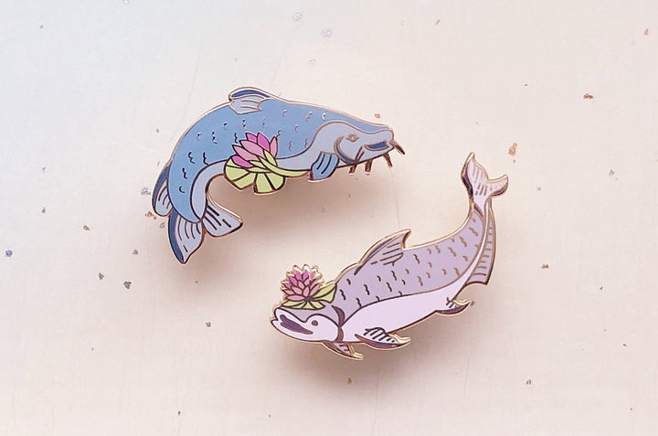 Yaqui Catfish and Giant Mekong Catfish Enamel Pin Set