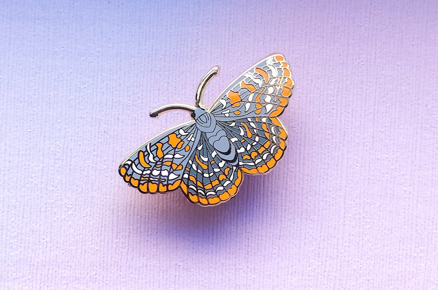 Checkerspot Butterfly Enamel Pin