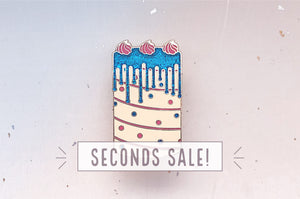 Glittery Confetti Cake Enamel Pin (Seconds)