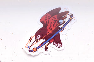 Cosmic Hawk Clear Vinyl Sticker