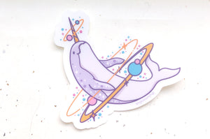 Cosmic Narwhal Clear Vinyl Sticker