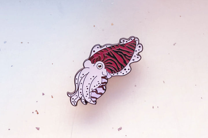 Cuttlefish Color Changing Enamel Pin