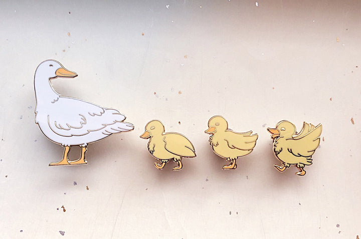 Mother Duck and Ducklings Enamel Pin Set