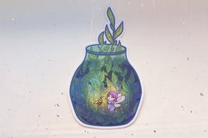 Fairy Terrarium Jar Vinyl Sticker