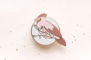 Female Cardinal Enamel Pin