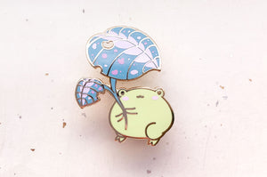 Gogo the Frog Leaf Umbrella Enamel Pin