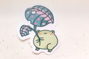 Gogo the Frog Leaf Umbrella Clear Vinyl Sticker