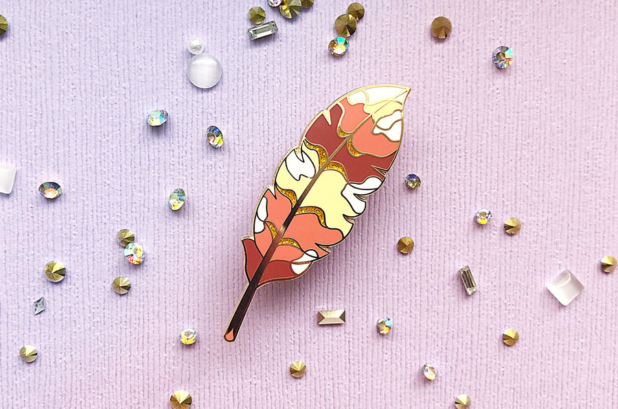 Griffin Feather Glitter Enamel Pin