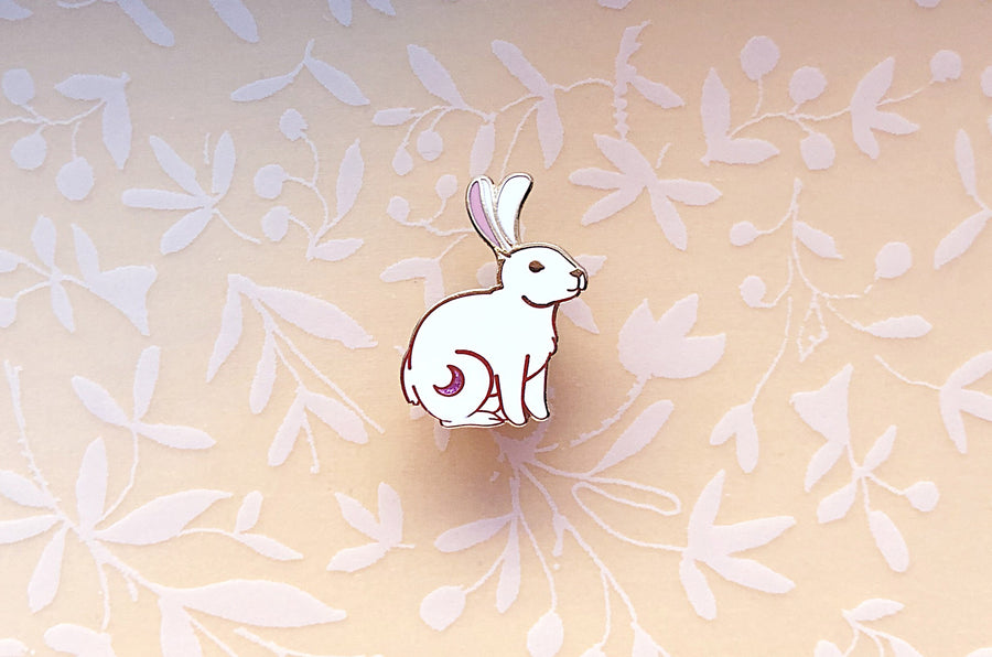 Crescent Moon Rabbit Enamel Pin