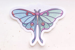 Moon Moth Clear Vinyl Sticker