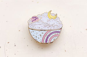 Celestial Moon Rice Cosmic Enamel Pin