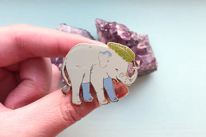 Green Baby Asian Elephant Oopsie Pin