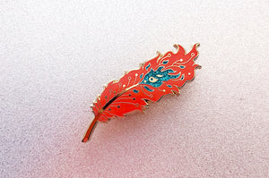 Turquoise Glitter Phoenix Feather Oopsie Pin
