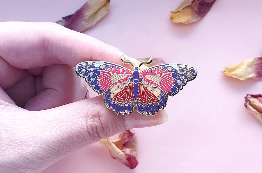 Red Lacewing Butterfly Enamel Pin