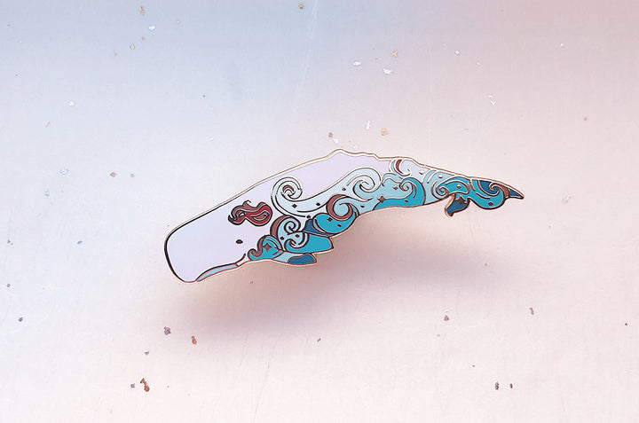 Waves Sperm Whale (Fire in the Sky) Pin