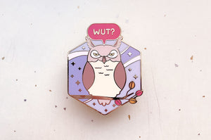 Grumpy Great Horned Owl Enamel Pin