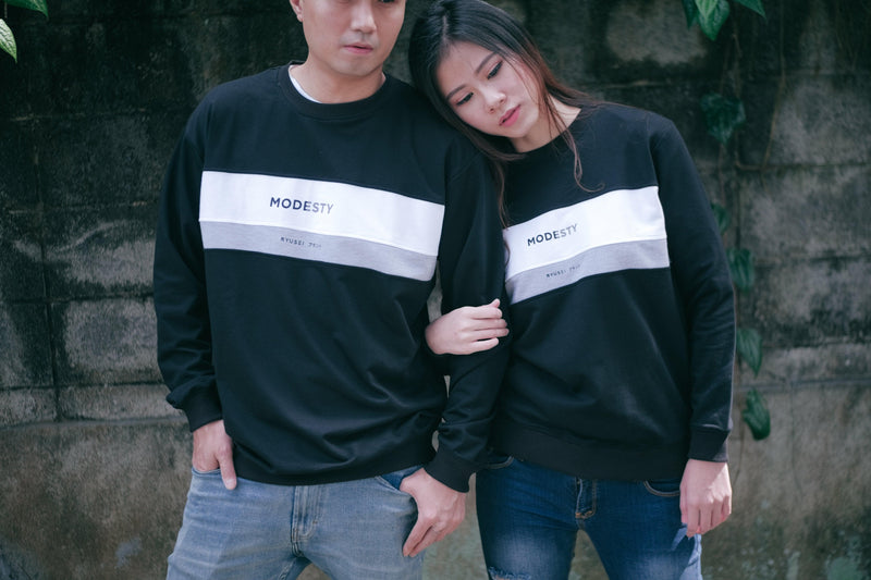 [ COUPLE EDITION ] SWEATER MODESTY CMB BLACK - SATU SET