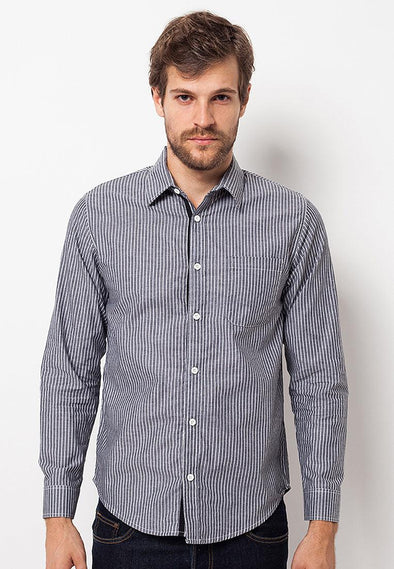 Sht Men Genjiro Stripe Grey