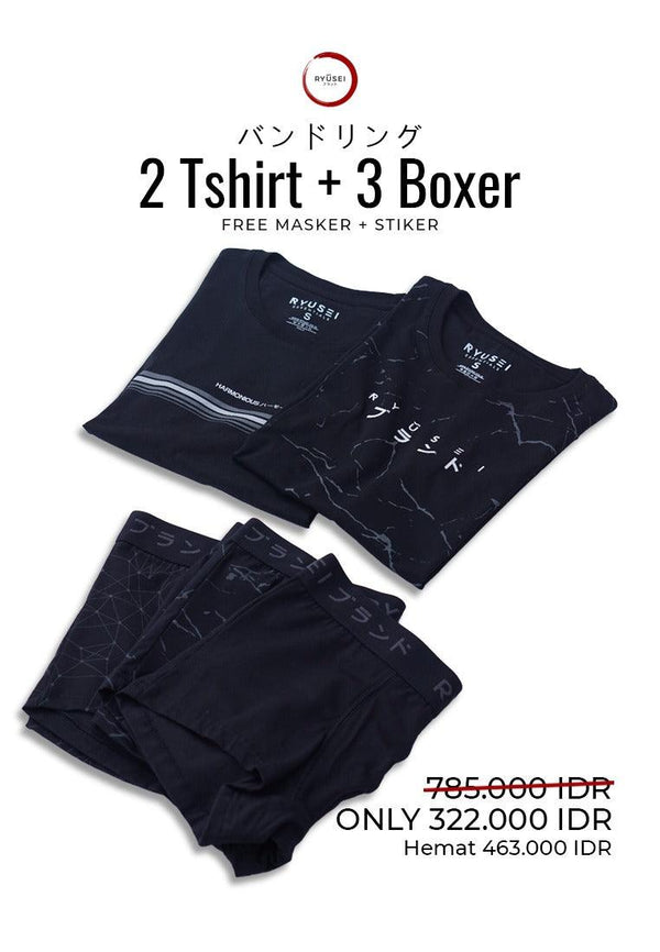 [ BUNDLING ] 2 Tshirt + Boxer All Black Free Masker & Sticker