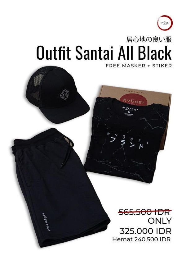[ BUNDLING ] Outfit Santai All Black + Free Masker & Sticker