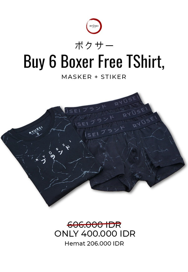 [ BUNDLING ] Buy 6 Boxer All Black Free Tshirt, Masker & Sticker