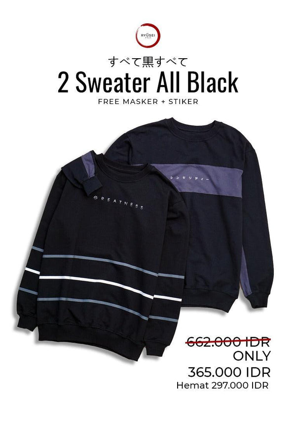 [ BUNDLING ] 2 Sweater All Black + Free Masker & Sticker
