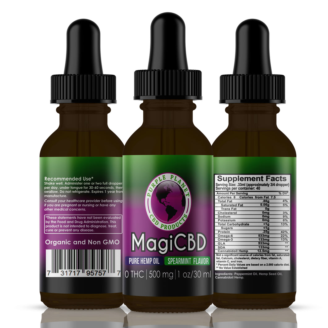 MagiCBD Hemp Oil 500 mg | 1oz./30 ml (Spearmint)