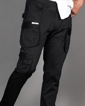 Black 7- Pocket Cargo Pants (Stretchable) - DELIVERY AFTER 10th MAY