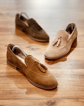 Italia Suede Tasseled Loafers in Tan [Limited Edition] Men's Shoes - CESARI LONDON|Now in India