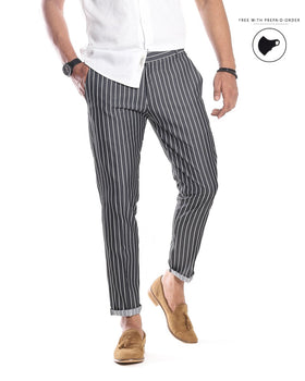 Charcoal White Striped Pants Men's Trousers - CESARI LONDON|Now in India