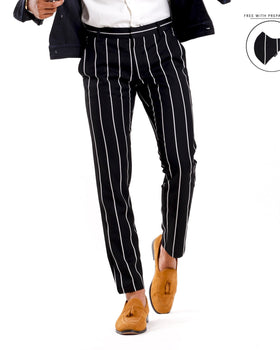 Dapper Trouser in Stripes (Premium Suiting Fabric) Men's Trousers - CESARI LONDON|Now in India