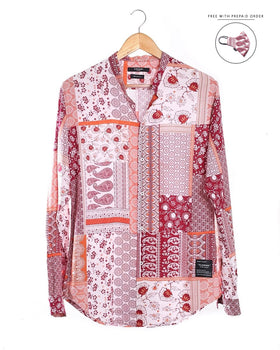 Paisley Tribal Printed Mandarin Shirt (Festive Season Exclusive) Men's Shirts - CESARI LONDON|Now in India