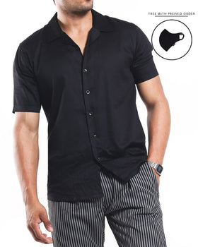 Black Silky Smooth Half Sleeves Cotton Shirt Men's Shirts - CESARI LONDON|Now in India