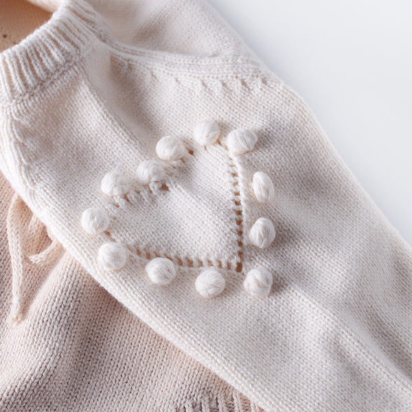 Grace Pompom Heart Knit Romper