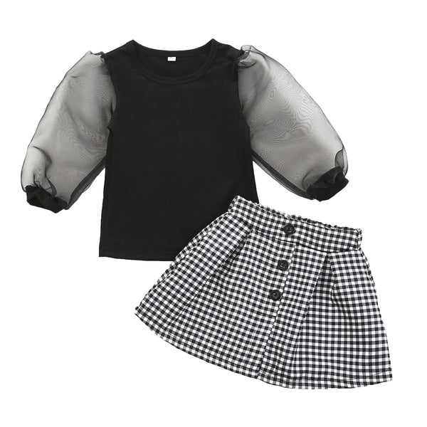 Blakely Mesh Sleeve Skirt Set