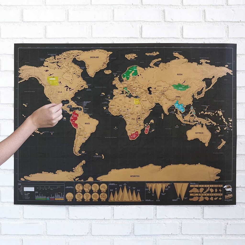 Black & Gold Scratch Off Travel World Map