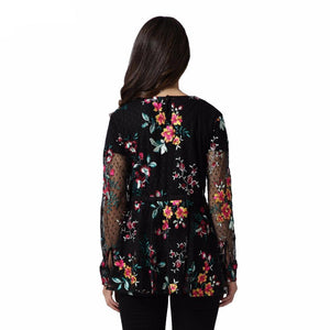 Sheer Floral Embroidered Mesh Top