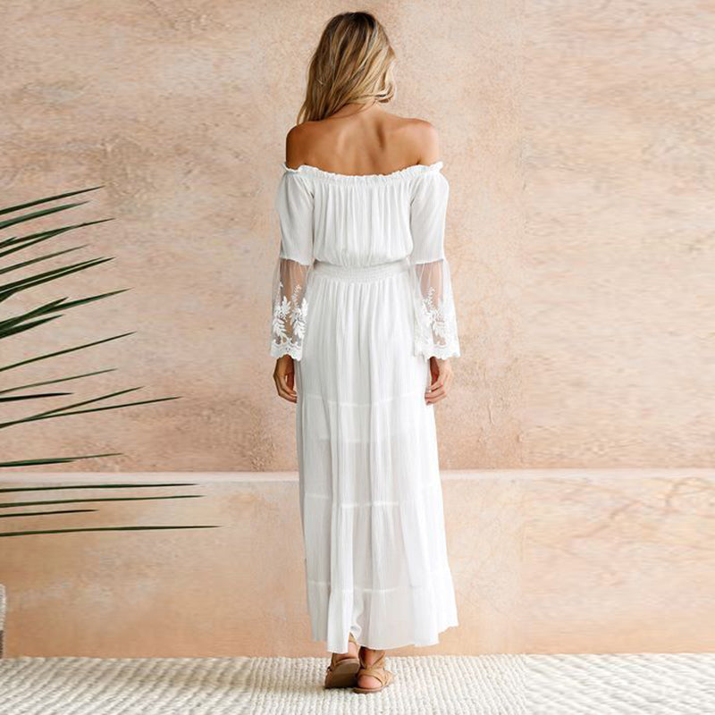 Lacy Off the Shoulder Maxi Dress