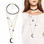 3 Layer Stars & Moon Choker Necklace