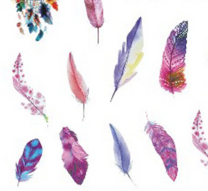 Boho Watercolor Feathers and Dreamcatchers Water Transfer Sticker Nail Art Decals - 1 Sheet