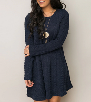 Cozy Cable Cable Knit Sweater Mini Dress - 6 Colors