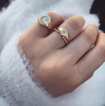 Crescent Moon & North Star Signet Rings - 2 Styles
