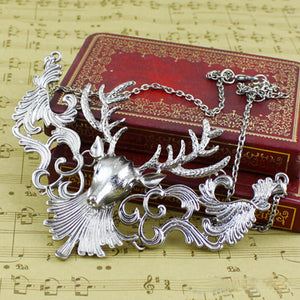 Ornate Baroque Deer Statement Necklace - 2 Colors