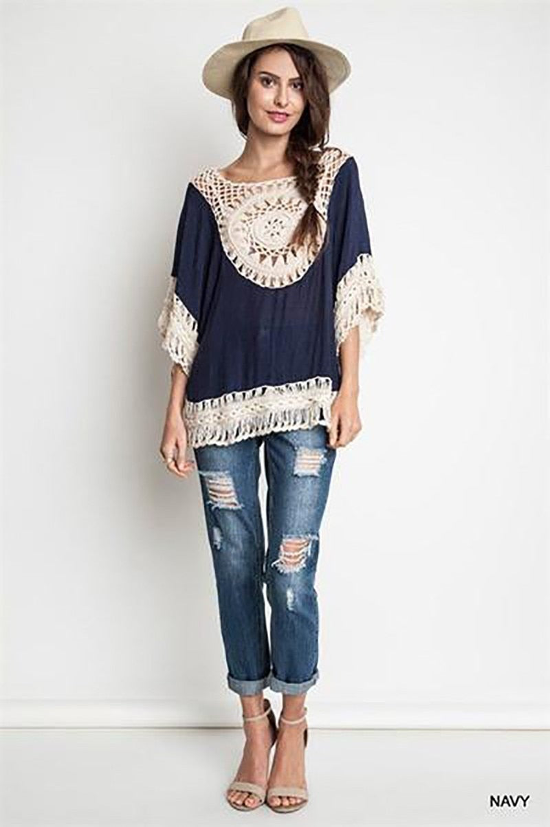 Big size bohemian handmade crochet lace women blouses shirts beach cover up patchwork loose batwing sleeve pareos ladies blouse