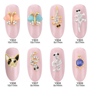 10pcs 3d French Bulldog opal nail art gems butterfly animal design jewelry nails snake decorations new arrive charm Y802~809