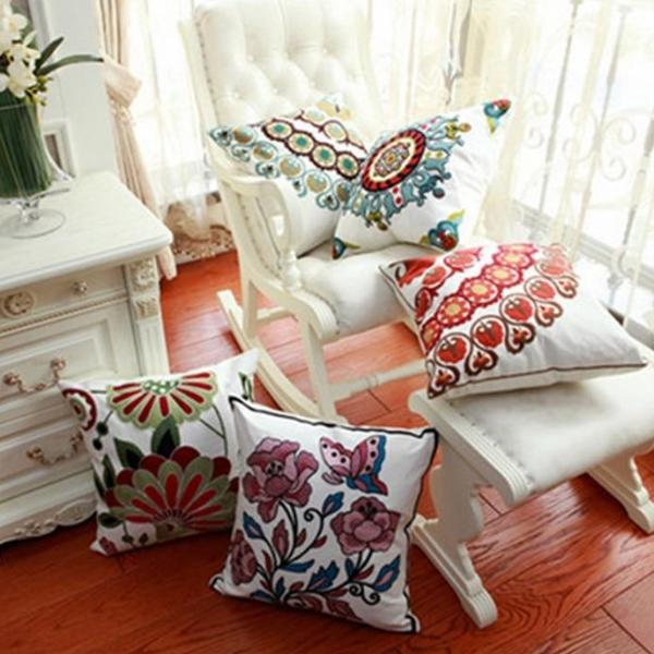 Hand Embroidered Floral Tile Throw Pillow Covers - 20 Styles