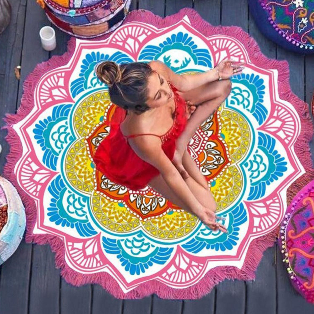 Lotus Shaped Mandala Fringed Beach Towel Tapestry